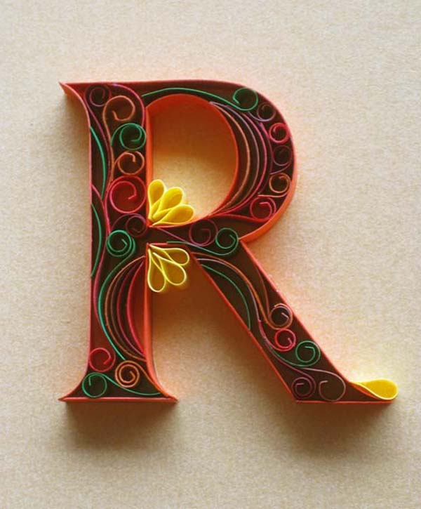 Paper quilling alphabets search yours creative art for Paper quilling work
