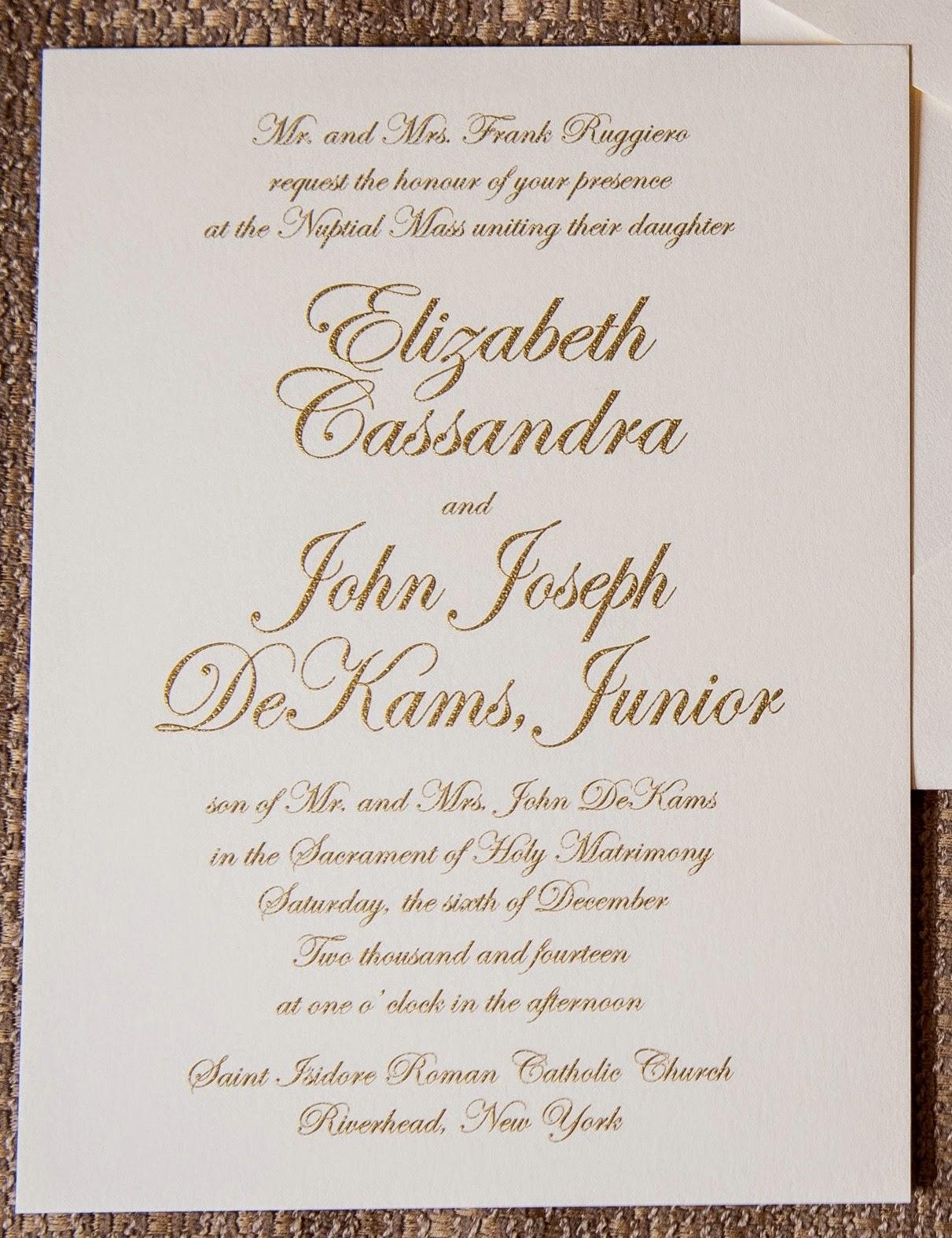 Wedding Invitation Wording For Catholic Mass Yaseen for