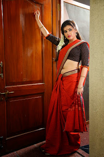 Archana Red Saree hot navel Photos from Kamalatho Naa Prayanam