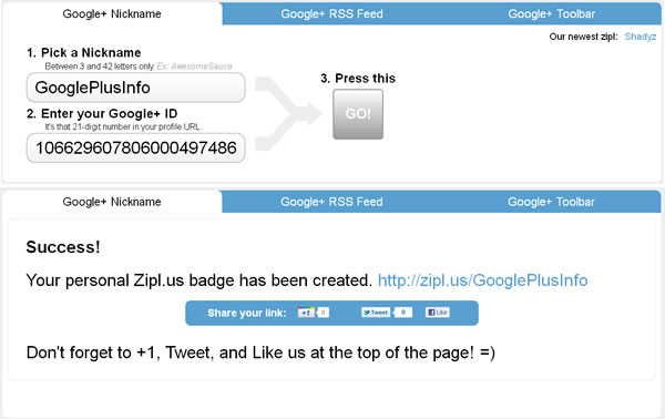 10 Sites to Create Shortened Google Plus Profile URL: Zipl.us