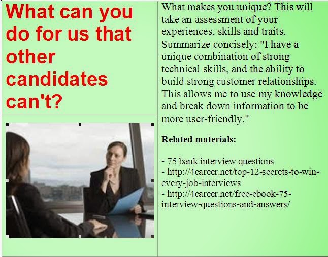 bank interview questions  what can you do for us that