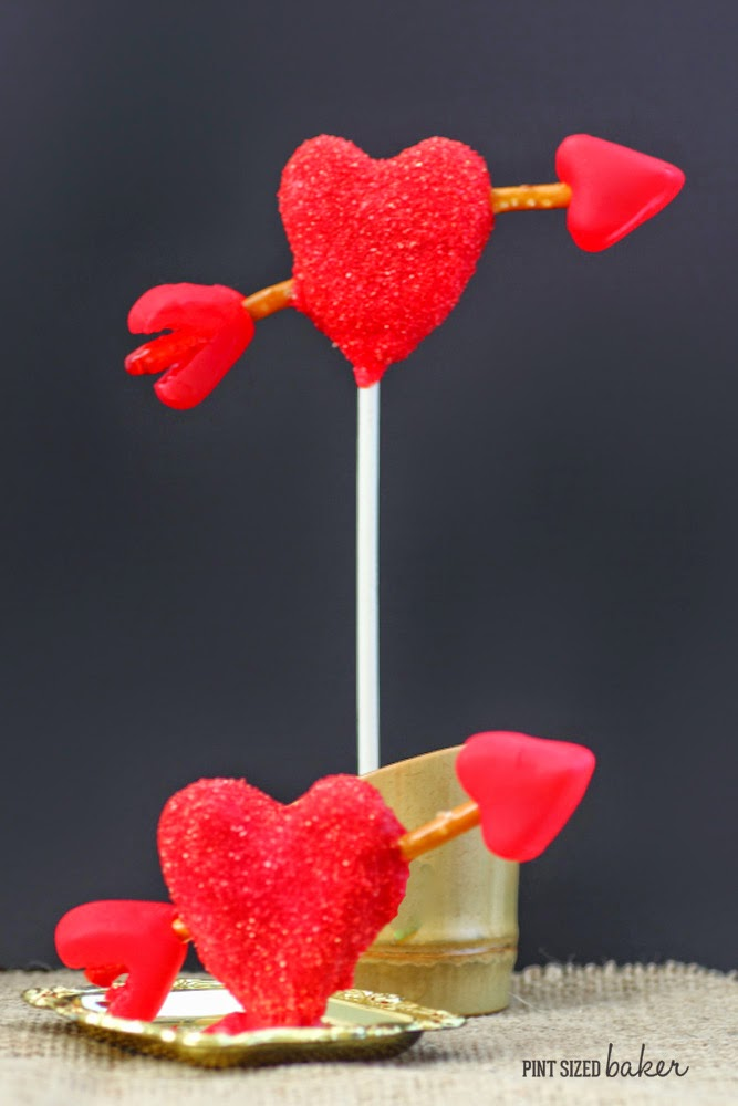 I'm loving these heart Cake Pops on a stick and Cake Pop Truffles! So clever with the pretzel arrows!