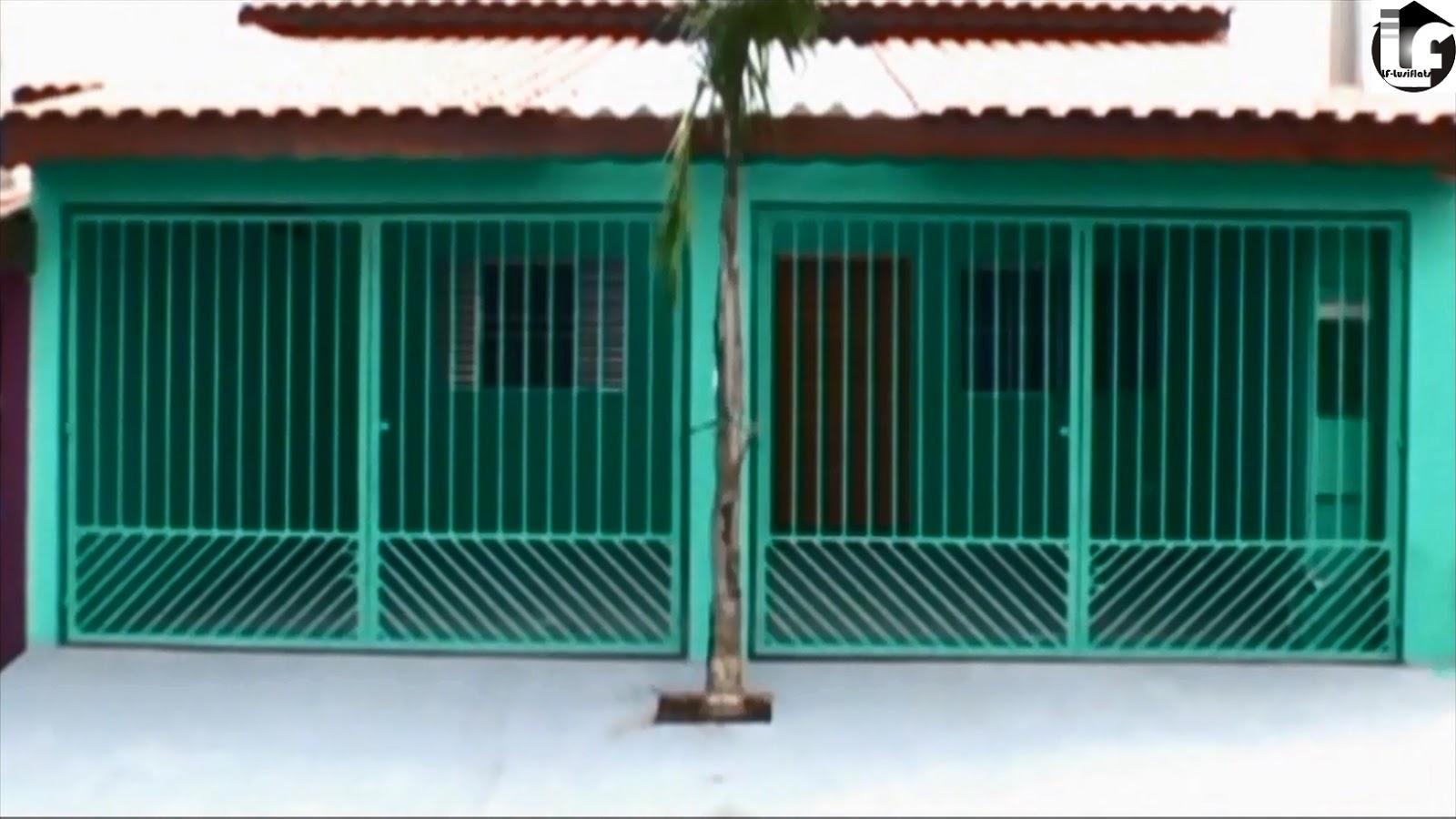 fachada verde portões metal garagem 2 vagas #125C4D 1600 900