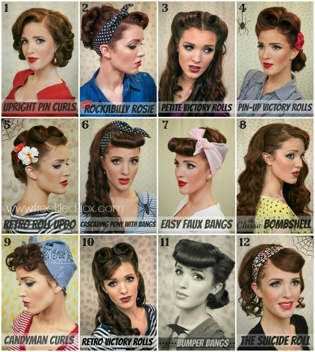 the freckled fox halloween inspiration retro hair