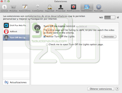 Desinstalar extensiones en Safari para Mac OS X