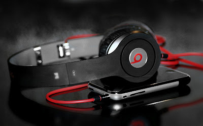 Black red headphones music-wallpapers