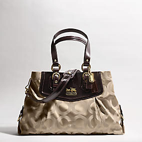 Brown beige sateen leather handbag