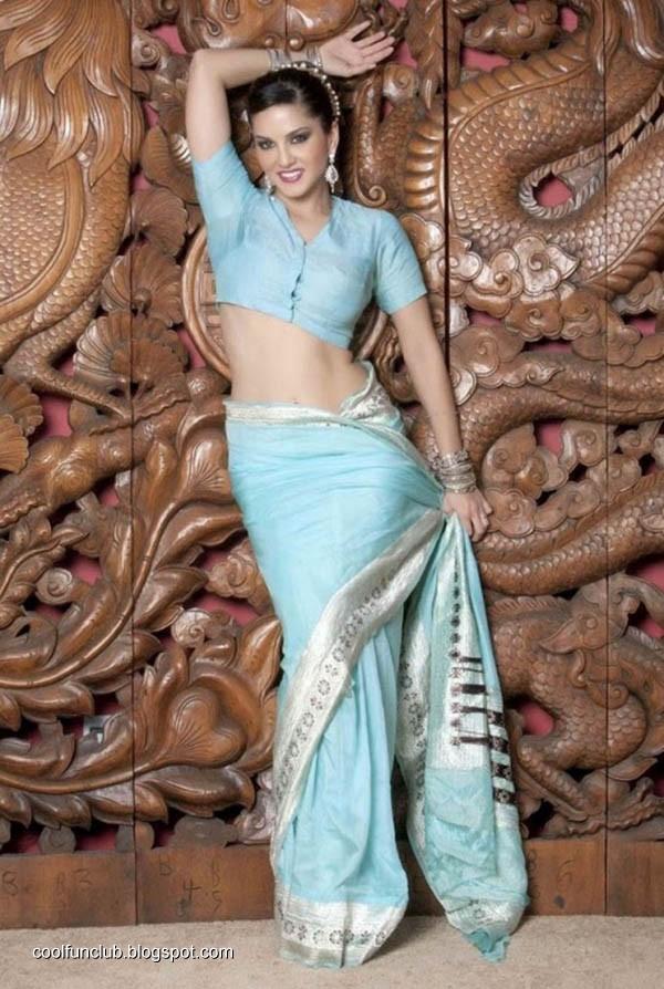 Sunny Leone in Blue Saree