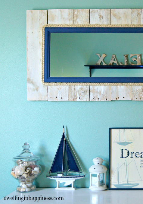 nautical pallet mirror with rope