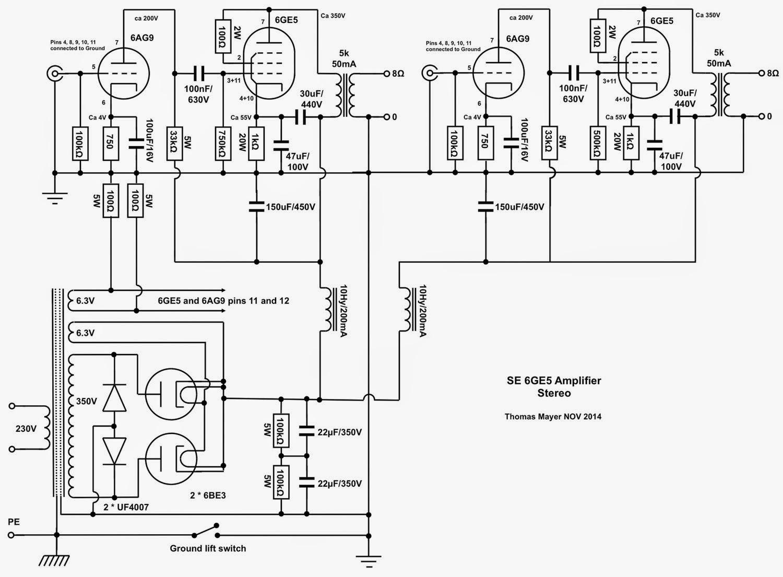vinylsavor  6ge5 stereo amplifier  part 1   circuit