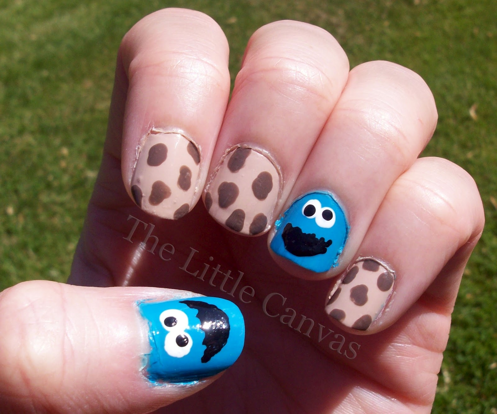have seen on other blogs and youtube cookie monster nails so i figured
