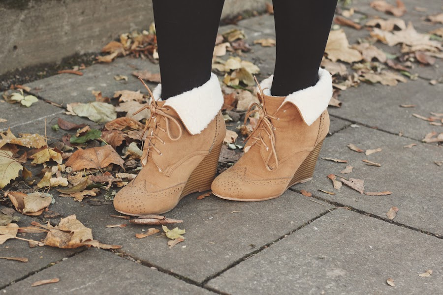 shearling tan wedge boots