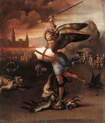 archangel michael slaying the devil by raphael