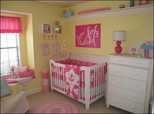 Habitaci n de beb en rosa y amarillo dormitorios con estilo - Habitaciones amarillas ...