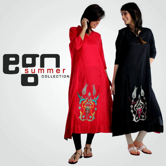 Ego Summer Collection 2013 Printed And Embroidered Long Shirt For