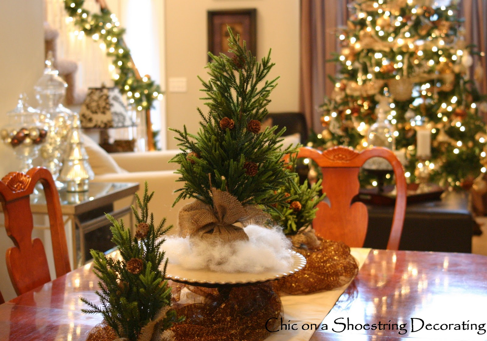 chic on a shoestring decorating christmas home tour 2011 - Elegant Christmas Dining Room Decorations