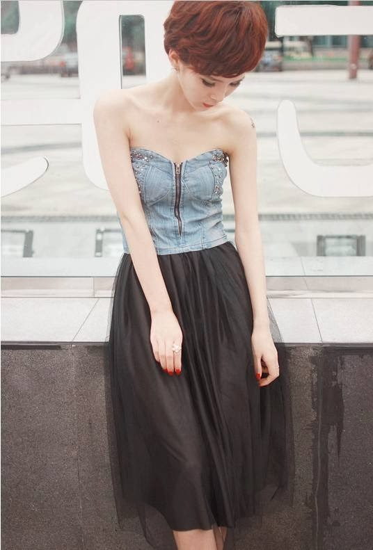 Baju: Dress Denim Rok Lapis Chiffon Hitam