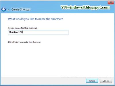 Làm sao để Tạo shortcut Hibernate, Shutdown, Restart từ desktop trên Windows 8