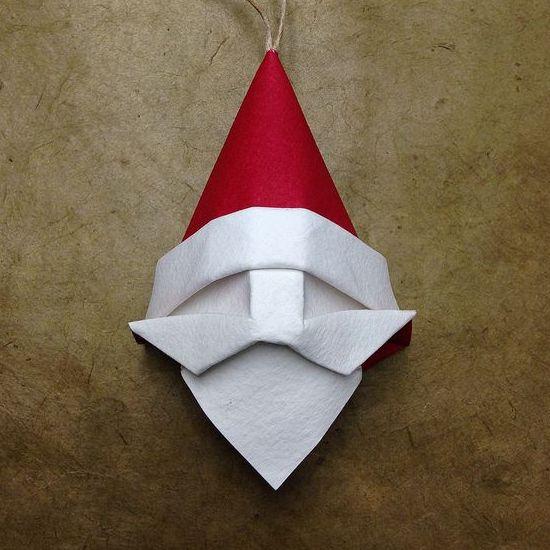 origami santa ornament