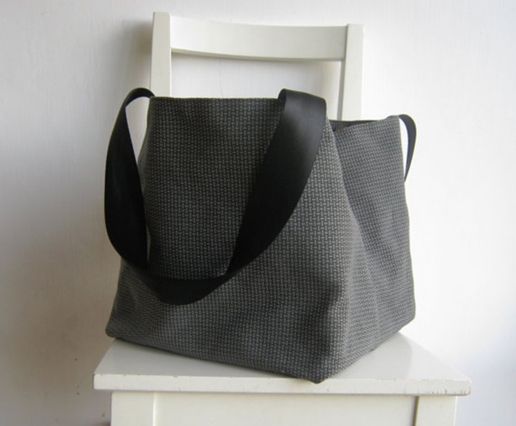 large grey handbag