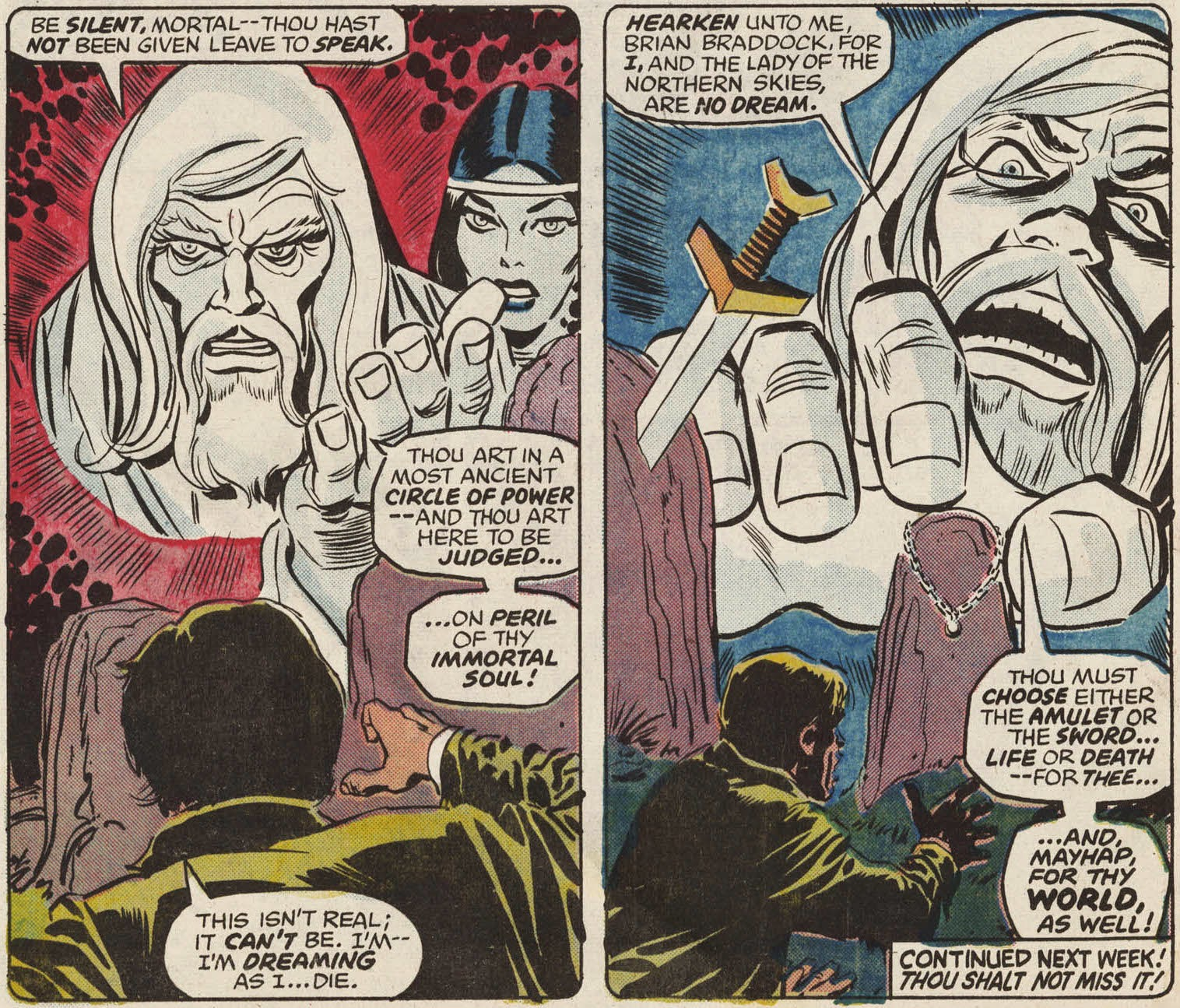 Figure 316: Merlin Appears To Brian Braddock In A Flash Of Kirby Krackle  (written By Chris Claremont, Art By Herb Trimpe, From Captain Britain #1,  1976)