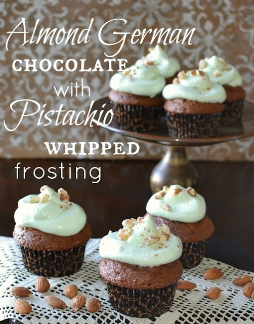 Almond German Chocolate Cupcakes with pistachio whip frosting by Over The Apple Tree
