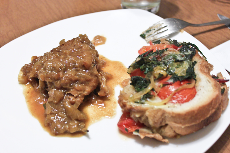 Foodology: Beer braised chicken and onions with tomato, greens, and ...