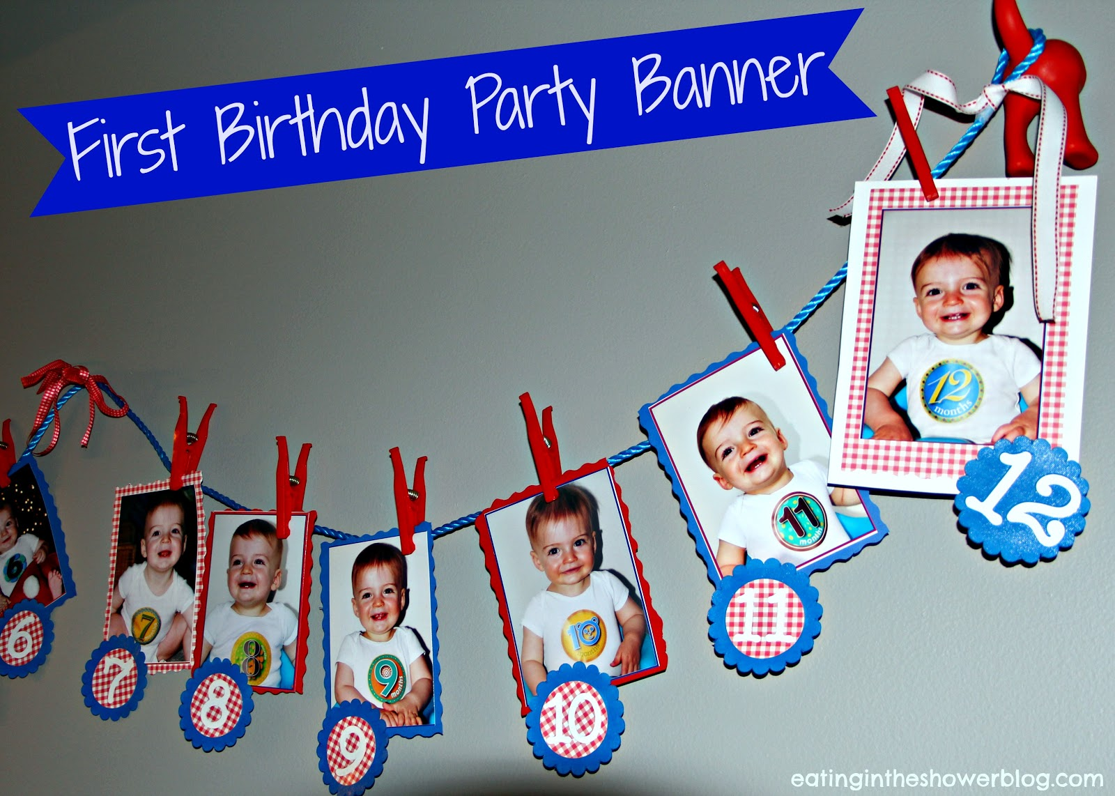 Eating in the shower puppy dog tails first birthday party for Baby boy 1st birthday decoration ideas