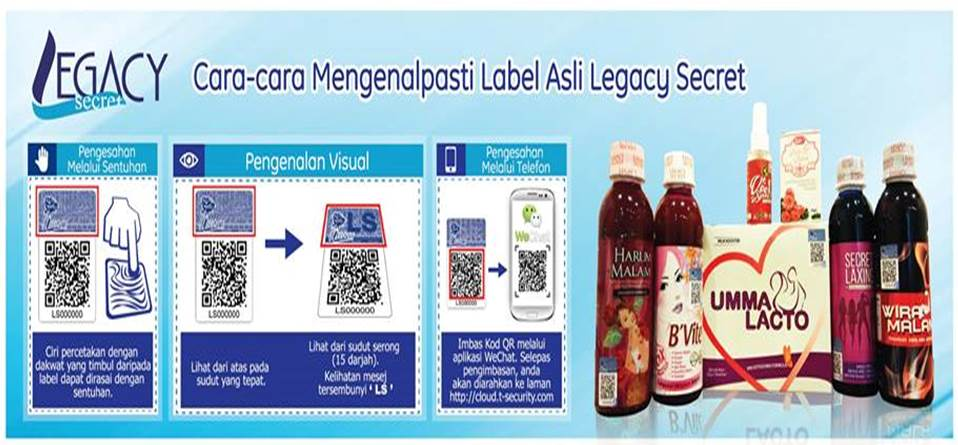 Cara Semak Label Asli Legacy Secret