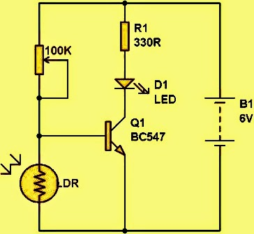 Simple Light Dark Detector Circuit on simple led circuit diagram