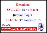 SSC CGL Tier-1 Question Paper Held On: 9th August 2015