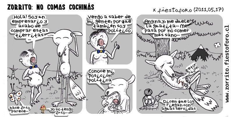 Caricatura de Zorrito Culpeo, político tóxico