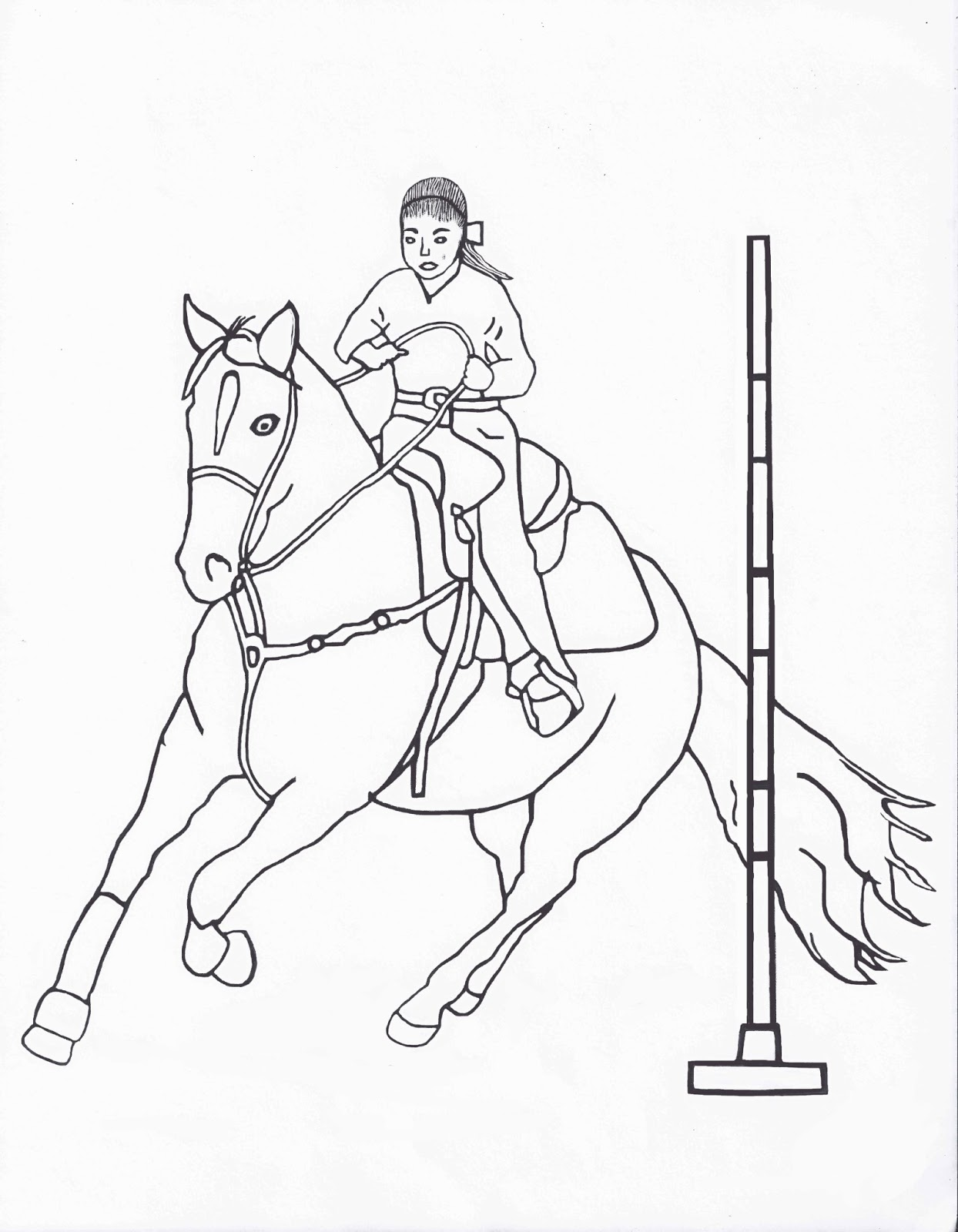 RODEO COLORING PAGES Pole Bending