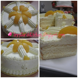 SNOWY PEACH CUSTARD CREAM CAKE