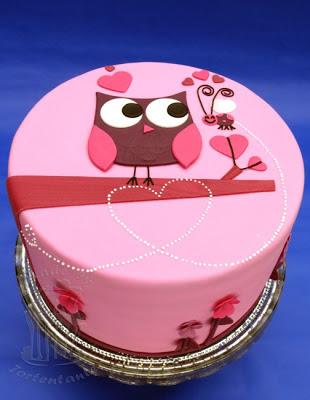Valentinstag Torte Eule Biene Fondant