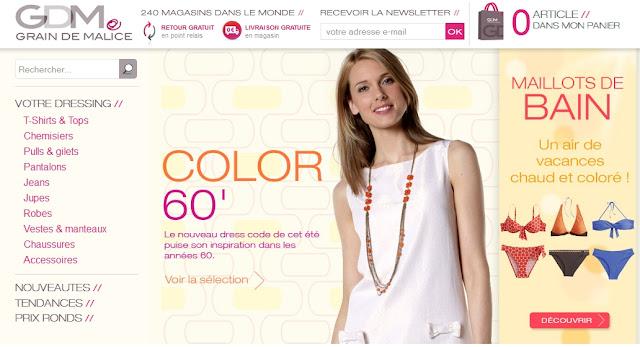 Grain de Malice mode femme: 5€ de réduction sans minimum d'achat + Retrait gratuit en magasin