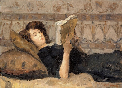 Isaac Israëls. Girl Reading on the Sofa, 1920
