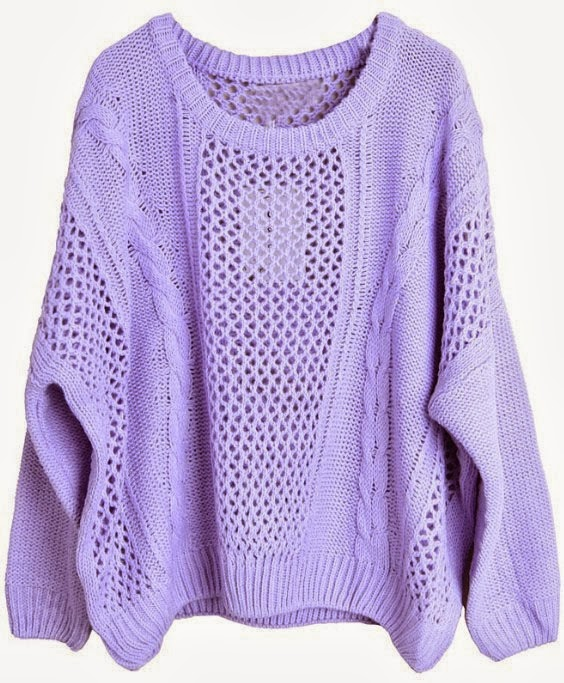 Purple Long Sleeve Hollow Loose Pullovers Sweater