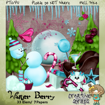 "Free digital scrapbook ""Winter Berry"" from Creative Scraps By Crys"