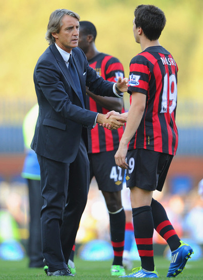 Mancini with Samir Nasri Blackburn Rovers vs Manchester City Barclays Premier League