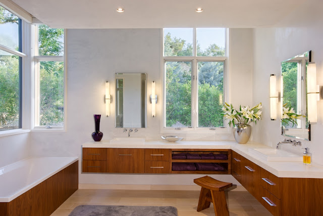 Photo of large bright modern bathroom