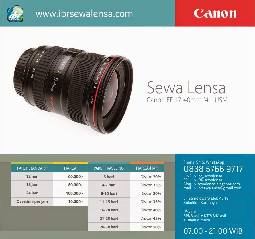 Harga sewa lensa Canon 17-40 mm F 4 L USM