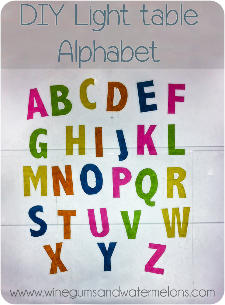 DIY light table alphabet