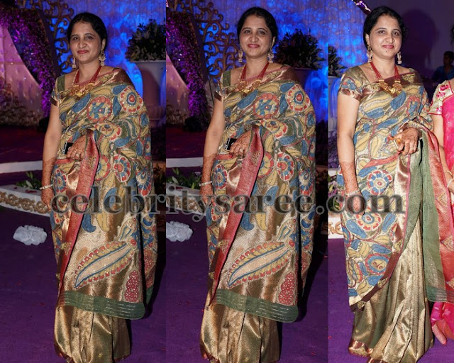 Kalamkari Work Latest Silk Saree