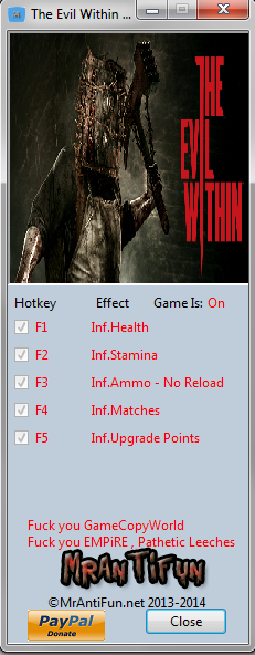 The Evil Within V1.00 Trainer +6 MrAntiFun