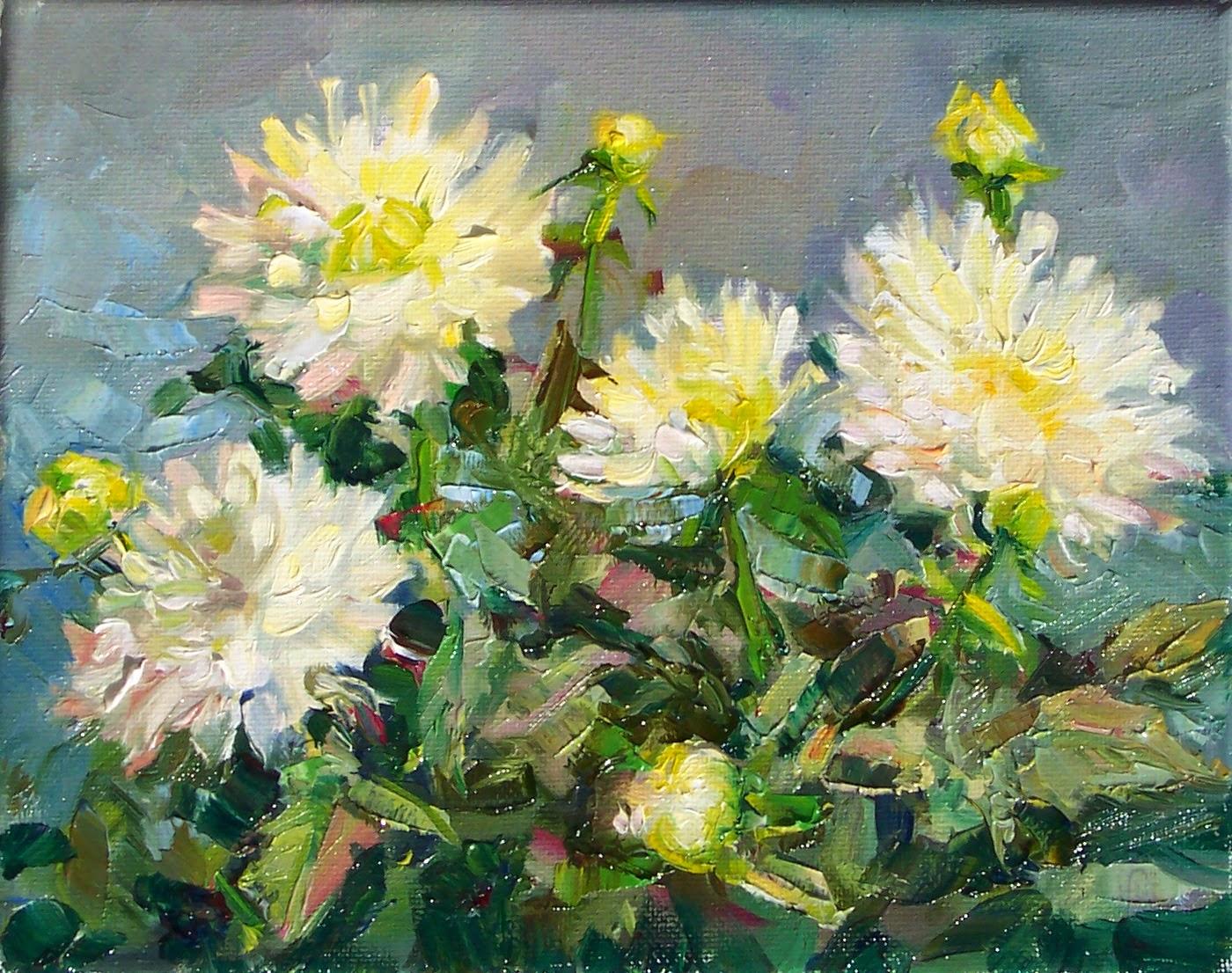 Art Every Day White Dahliasstill Life Oil On Canvas8x10price250