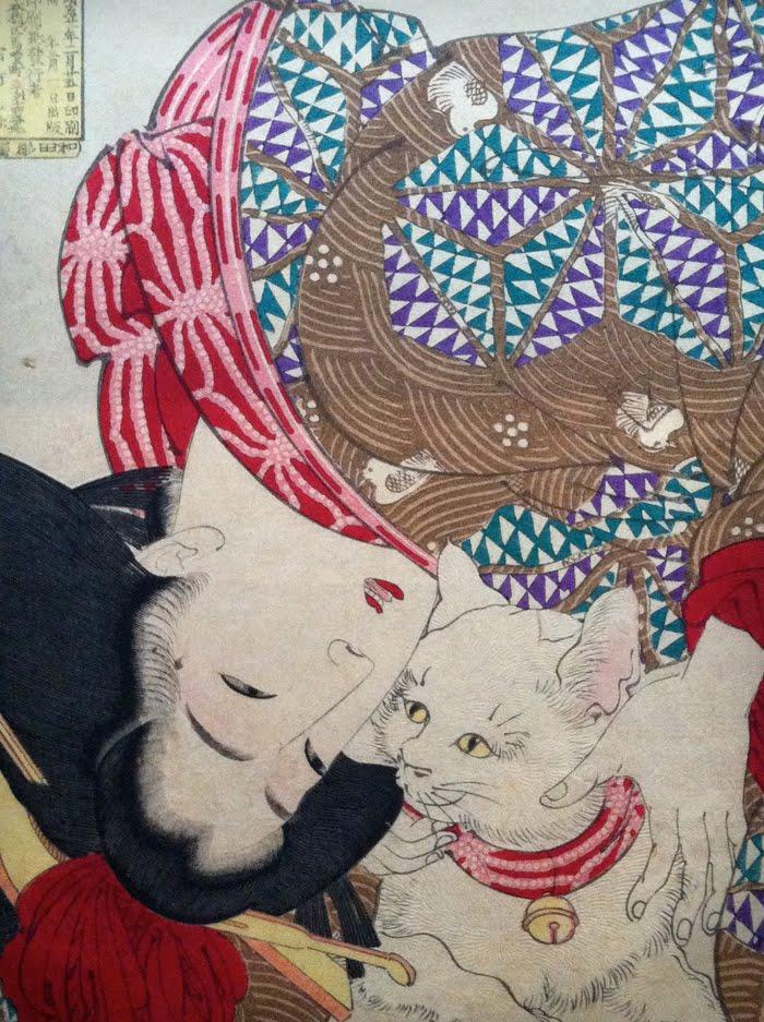 японская женщина любит кота картина