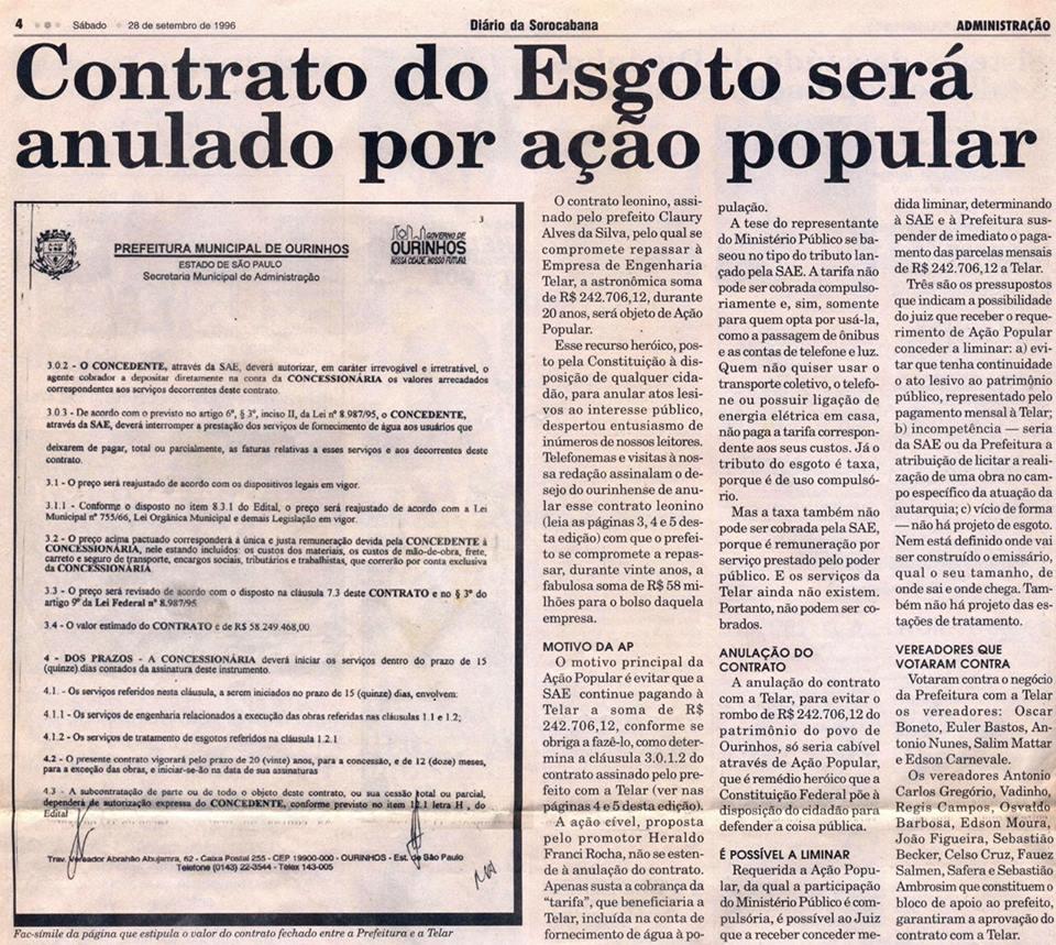 EDIÇÕES HISTÓRICAS DE JORNAIS OURINHENSES