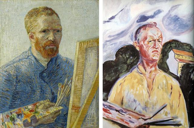 """В. Ван Гог. """"Автопортрет у мольберта"""" (1888).Э. Мунк. """"Автопортрет в Экели"""" (1926)"""