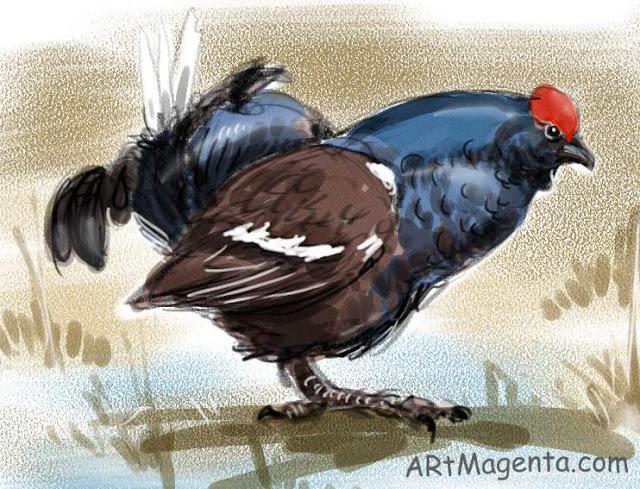 En  fågelmålning av en orre från Artmagentas svenska galleri om fåglar.